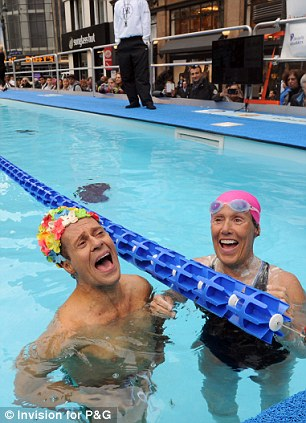 In the pool with Nyad: Some of the celebrities were bold enough to get in the pool with Nyad, like actor Tate Donovan (left) and fitness guru Richard Simmons (right)