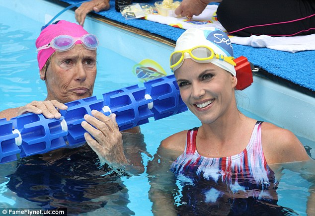 Morning show swim: NBC's Natalie Morales donned goggles and a swim cap to join Nyad in the pool
