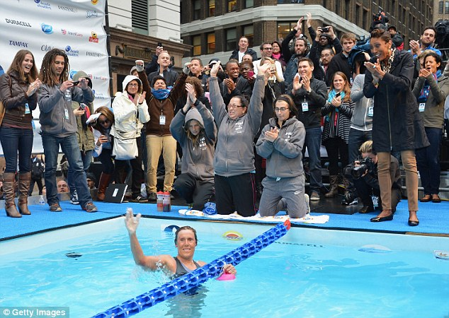 Finish line: Long-distance swimmer Diana Nyad finished a 48-hour marathon swim Thursday morning for Hurricane Sandy relief