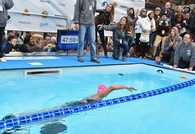Pioneer: Nyad recently became the first person to swim the 110 miles from Cuba to Florida without a shark cage. The waters of the 40-yard pool in Herald Square were much safer