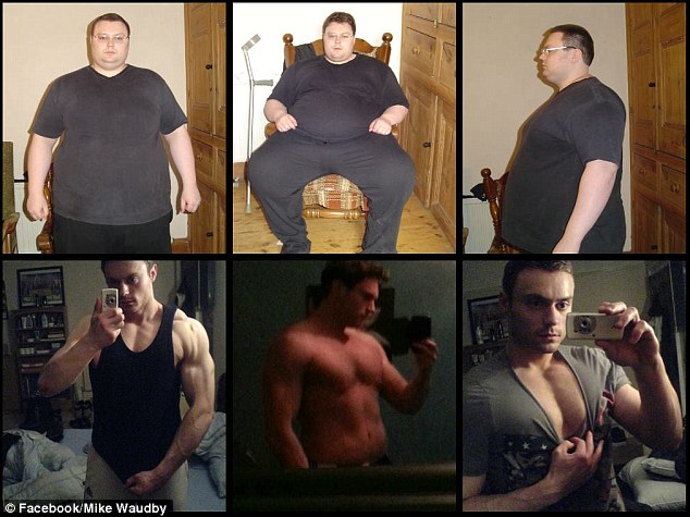 Incredible progress: Mike charted his weight loss and subsequent muscle gain on Facebook - but says he is still insecure about loose skin around his hips