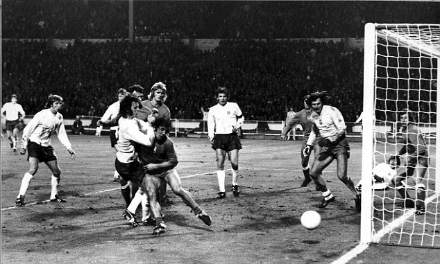 Chances: Mick Channon sees his shot goes just wide