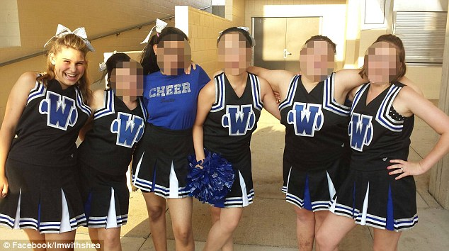 Tormented: Shea Shawhan (far left), a special needs junior at Plano West Senior High School, has been receiving menacing and profane text messages over the past eight months
