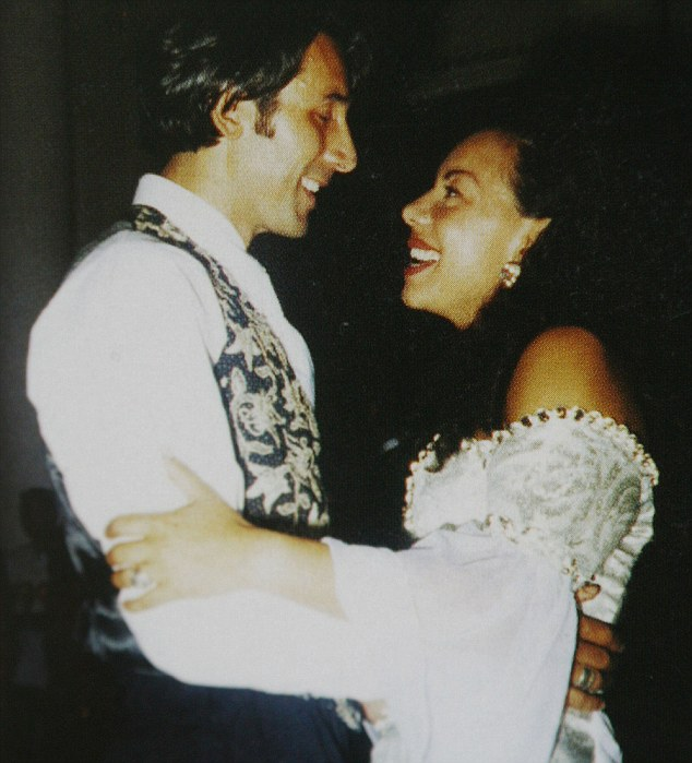 Happy day: Oona and Tiberio  dance at their wedding in July 1994