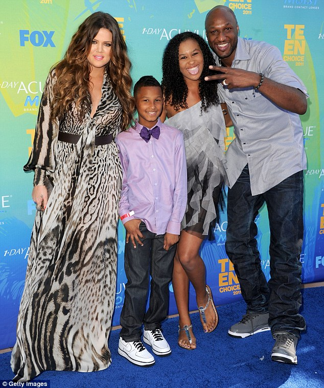Happier times: Khloe Kardashian, Lamar Jr., Destiny and Lamar Odom at the 2011 Teen Choice Awards