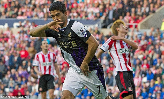 Back in business: Suarez has returned from a 10-game ban to score three goals from two league outings