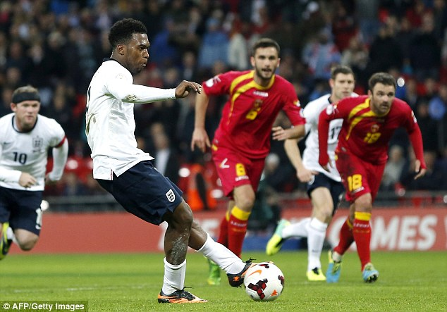 Spot on: Sturridge was on target from the penalty spot during England's 4-1 win over Montenegro on Friday night