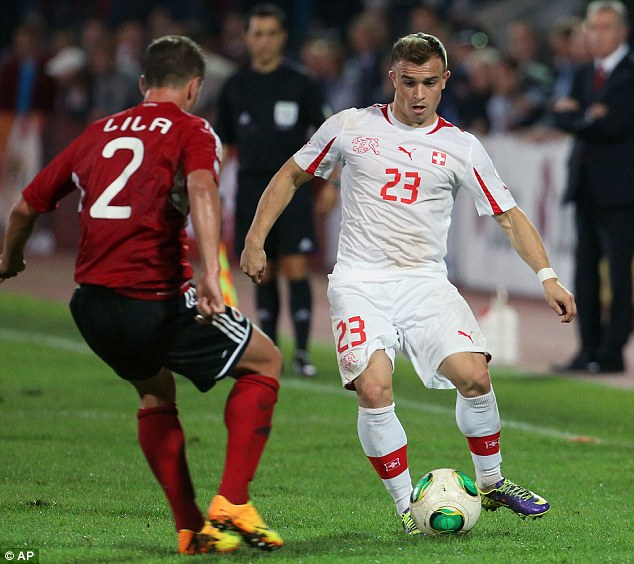 Sh-tar quality: Bayern Munich's Xherdan Shaqiri was on target against Albania and is the team's star player