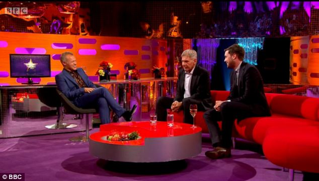 Red sofa: Graham Norton welcomed Harrison Ford and Jack Whitehall onto his Friday night show. Sherlock star Benedict Cumberbatch arrived 20 minutes late, claiming he was stuck in traffic