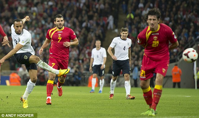 Town and country: Andros Townsend marked his England debut with a goal during the 4-1 win over Montenegro