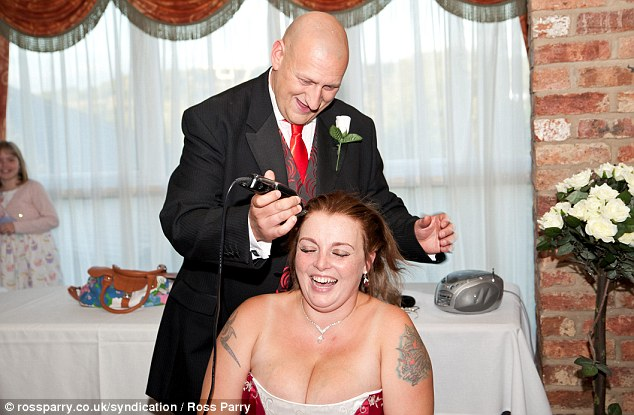 Just an hour after tying the knot, Mick Greaves shaved off all of his new wife's hair to raise money for Cancer Research