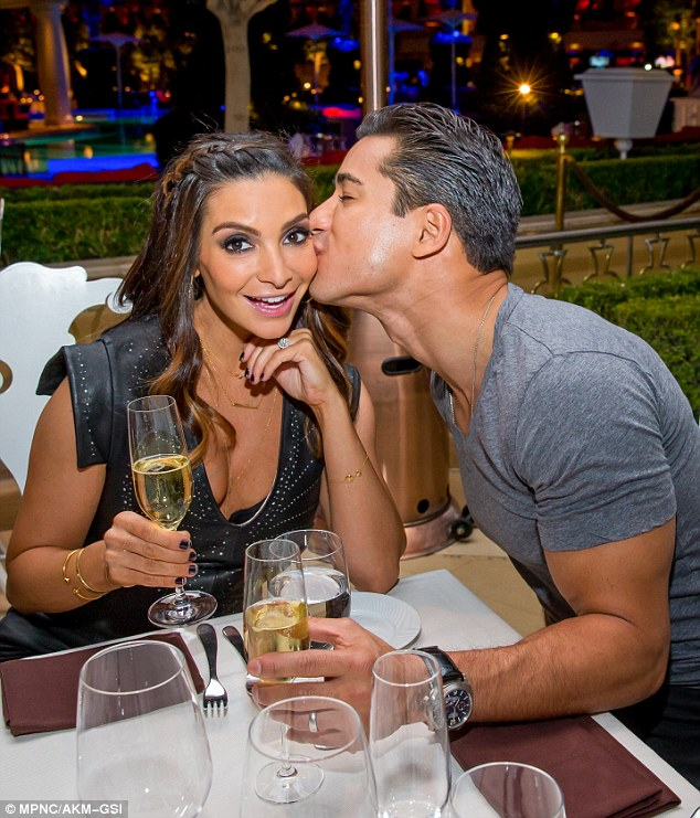 Romantic: The happy couple enjoyed a little one-on-one time at the Las Vegas hot spot