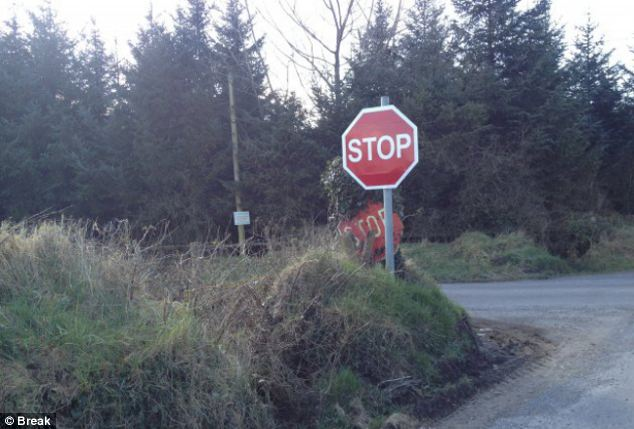 Double vision: A new stop sign may have been installed but someone forgot to take the old one away
