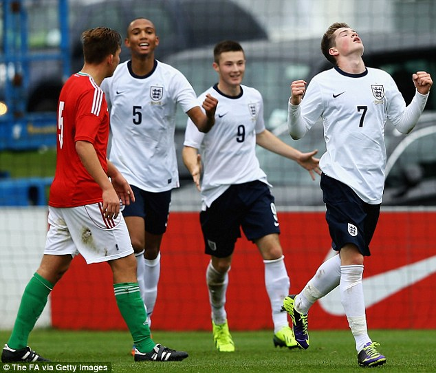 Young Lions roar: Liverpool's Kent celebrates his first goal during the clash with Hungary at St George's Park