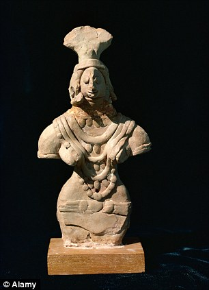 A statue of a woman found in Mohenjodaro
