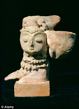 A mother goddess statue from Mohenjodaro, in Indus Valley