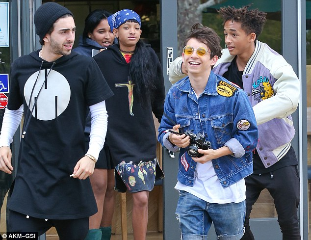 Famous friends: Kendall and Kylie were joined by Willow Smith, Jaden Smith, Moises Arias and Mateo Arias as they grabbed sushi at Sugarfish on Sunday afternoon