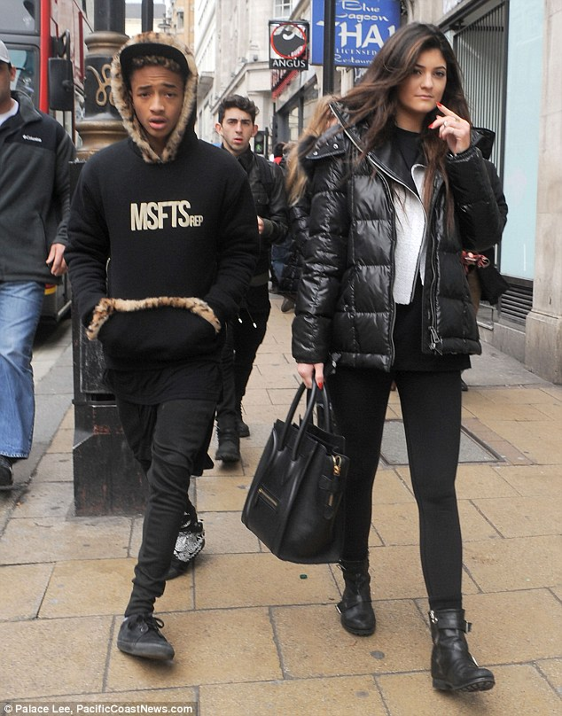 Love story: Jaden and Kylie have been dating on and off for the past year and were seen here together in London in March