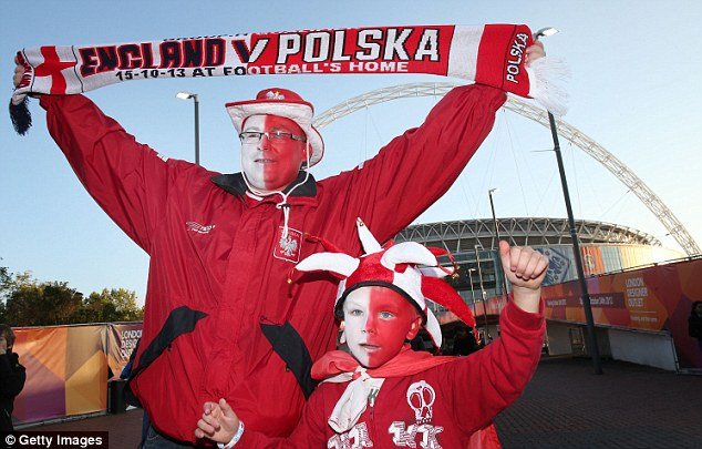 Up for it: Poland cannot qualify for the World Cup but that hasn't stopped their fans enjoying a showpiece game with England