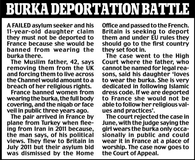 Burka deportation battle