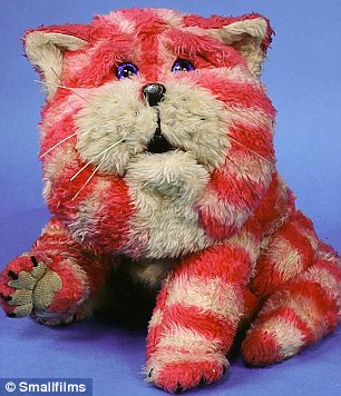 Bagpuss, the television puppet, created by Oliver Postgate and Peter Firmin, in the BBC series from 1974.