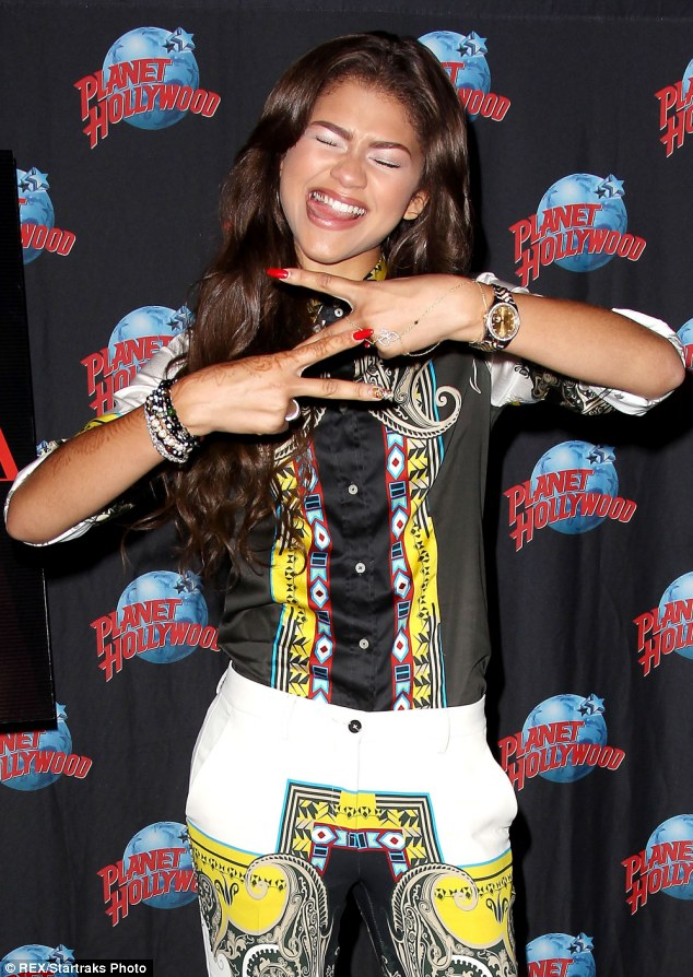 Silly sausage: Zendaya Coleman goofed around at her book launch at Planet Hollywood New York on Monday
