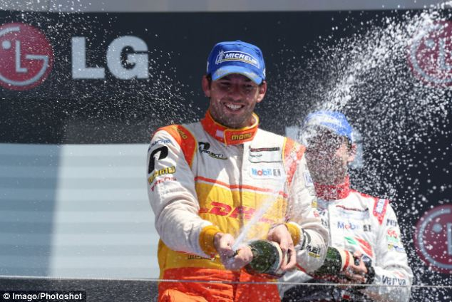 Celebrations: Sean Edwards at the Porsche Supercup earlier this year