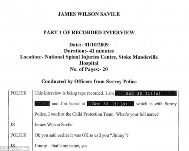 This is a transcript of the interview conducted by Surrey Police with Savile in October 2009. It was released earlier this year by the force following a Freedom of Information request