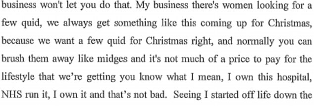 Word for word: This section of the police interview shows how Savile believed victims should be 'brushed away like midges' and added that he 'owned' Stoke Mandeville, where he is known to have abused victims