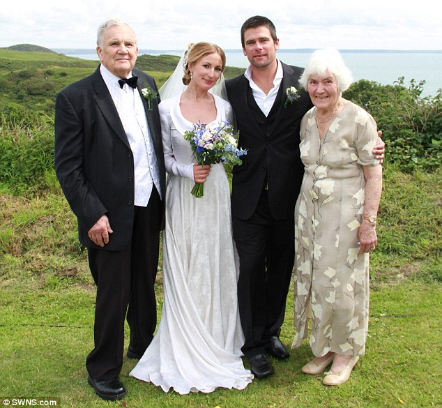 Romantic: Lucy, who now lives in Australia, flew home to her native Wales for the nuptials