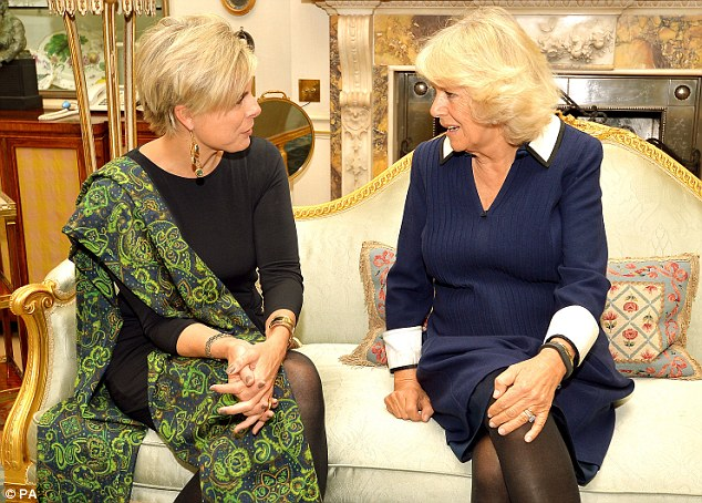 Early engagement: The Duchess of Cornwall with Princess Laurentien of the Netherlands during their meeting