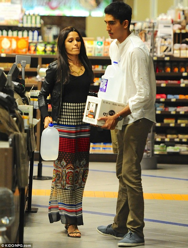 Domestic duo: Freida and Dev Patel did some late night grocery shopping at Erewhon Natural Foods Market in Los Angeles on Tuesday