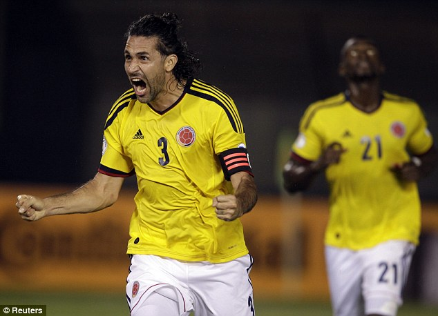 Brace: Mario Yepes scored twice for Colombia in their 2-1 win over Paraguay