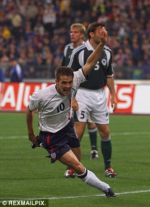 Michael Owen celebrates scoring during England's famous 5-1 win over Germany