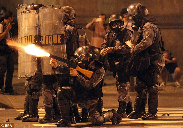 Firing a warning: Police tried to subdue the demonstrators
