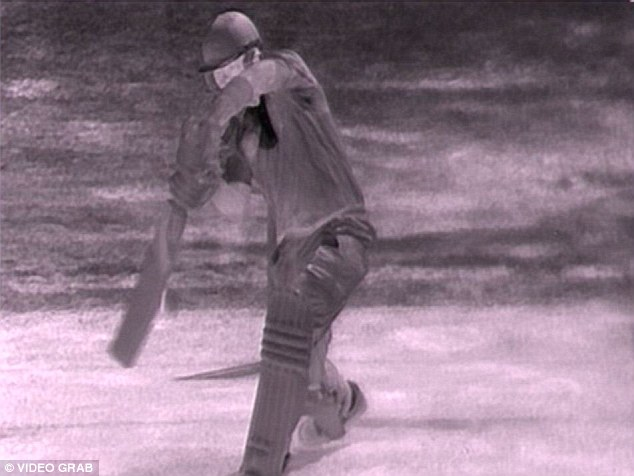 Hot shot: The tiniest nick was shown on Brad Haddin's bat to end the first Ashes Test at Trent Bridge, but Hot Spot won't be used during the series Down Under