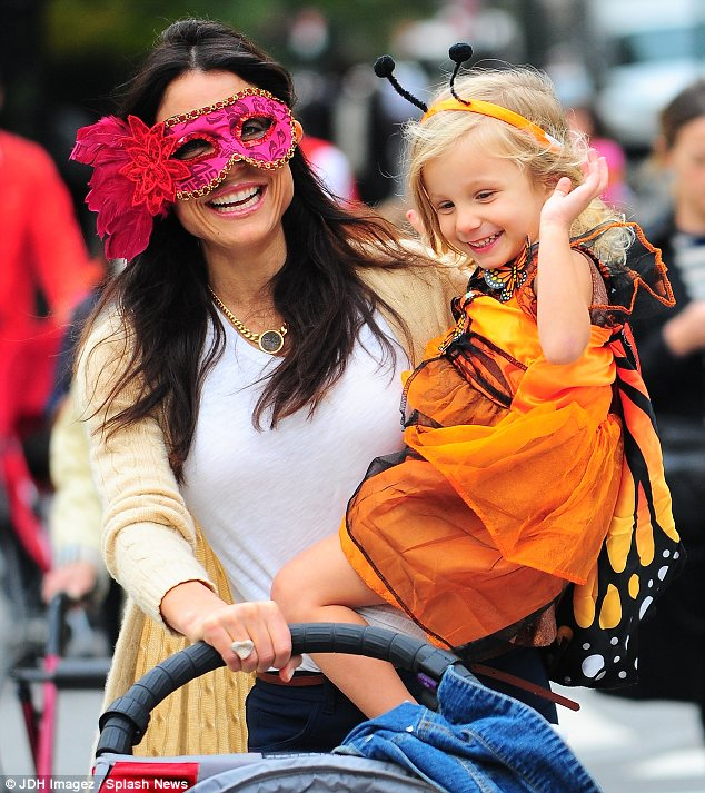 Excited: Bethenny Frankel and her daughter Bryn enjoyed playing dress up in New York on Wednesday