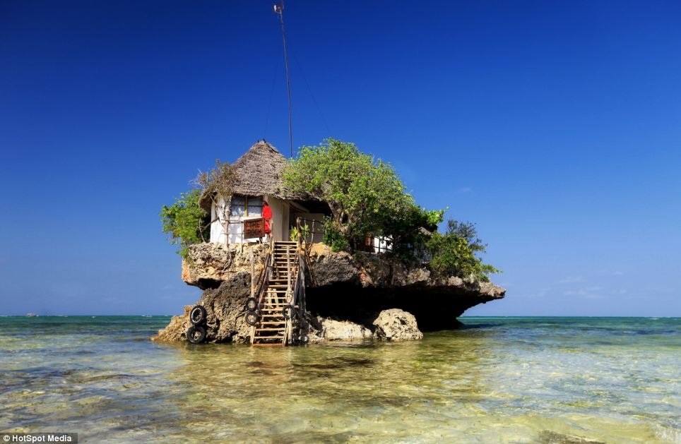 The Rock Restaurant, in Zanzibar, East Africa, is based in the middle of the sea and seats 45 people at one time