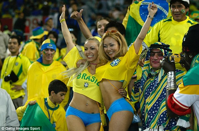 Glamour game: Brazil supporters always put on a show when they follow their team