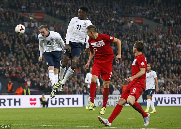 Head boy: Rooney settled the nerves with England's opener towards the end of the first half on Tuesday