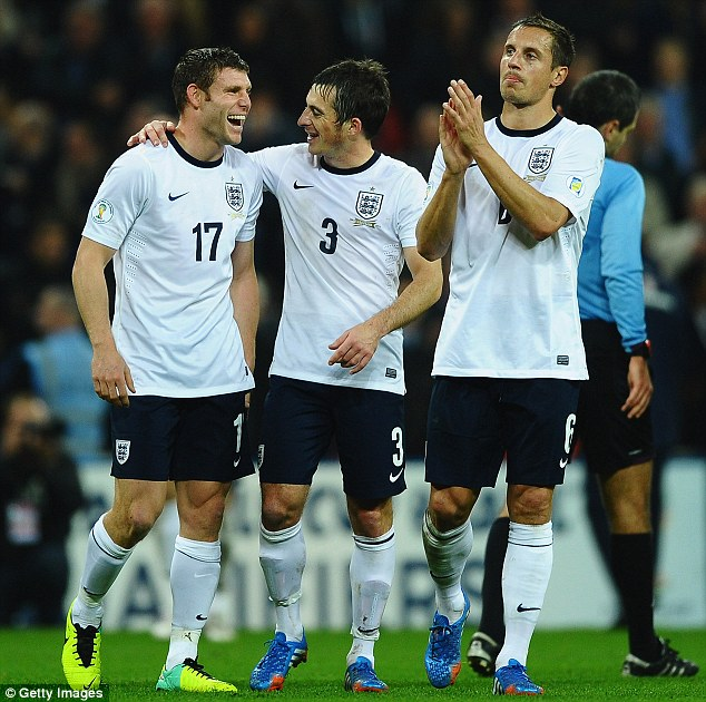 Three Lions: James Milner (left), Leighton Baines and Phil Jagielka (right) helped England reach Brazil