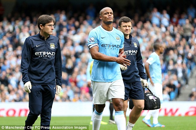 Sidelined: Vincent Kompany is out of action with a groin injury for the second time this season