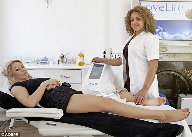 Kristina mid-Lipoglaze treatment. She was rehearsing in the dance studio later that day