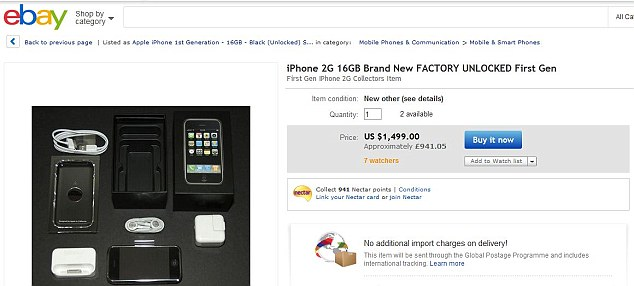 The trend isn't just seen in the UK, either. This eBay listing proves the iPhone 2G is a collector's item across the pond, too, being offered for $1,499