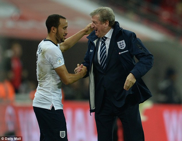 Embrace: Hodgson shows Towsend his gratitude at the end of the game