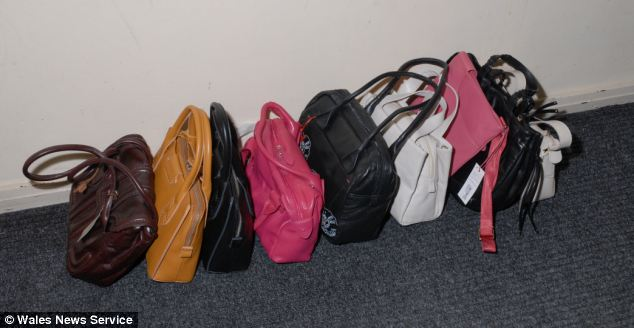 Rand targeted department stores across the UK walking out with the bags on her shoulder