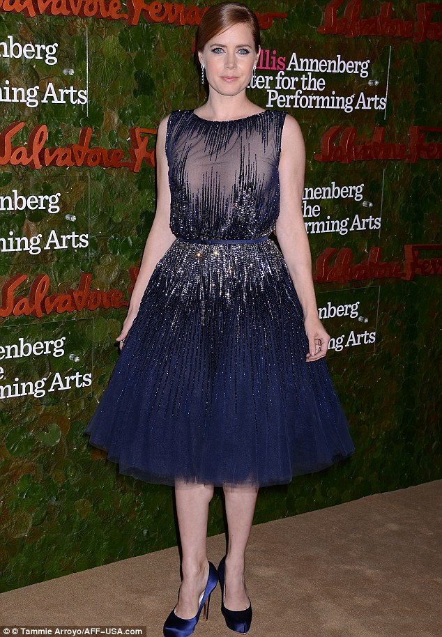 Tutu good: Amy Adams also plumped for navy blue with sheer detail and beaded embellishments