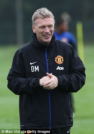 David Moyes in Manchester United training