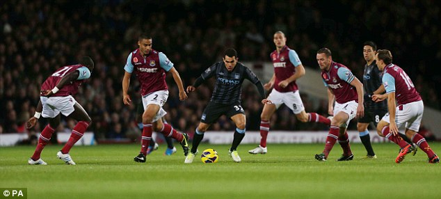 Stalemate: West Ham and Manchester City played out a goalless draw at Upton Park 11 months ago