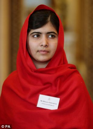 Malala Yousafzai as she attends a reception for Youth, Education and the Commonwealth at Buckingham Palace